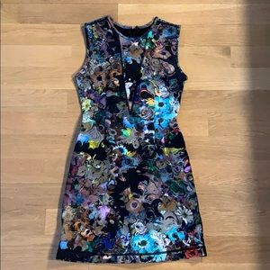 Scuba sleeveless floral printed dress